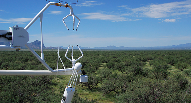 The mission of SWRC is to develop knowledge and technology to conserve water and soil in semi-arid lands.  This pictures shows an Eddy Covariance tower.