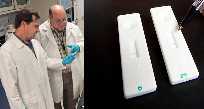 (L) Scientists examine antibody test strip in laboratory. (R) Close-up of lateral flow test device.