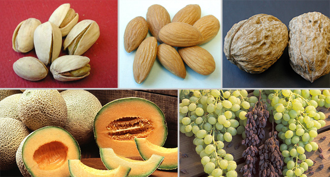 pistachios, almonds, walnuts, grapes and raisins, cantaloupes; clockwise from top left. USDA, ARS photos