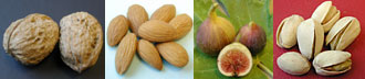 walnuts, almonds, figs, pistachios
