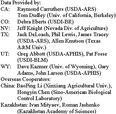 Text Box: Data Provided by:CA: Raymond Carruthers (USDA-ARS), Tom Dudley (University of California, Berkeley)CO: Debra Eberts (USDI-BR)NV: Jeff Knight (State of Nevada, Division of Agriculture)TX: Jack DeLoach, Phil Lewis, James Tracy (USDA-ARS), Allen Knutson (Texas A&M University)UT: Greg Abbott (USDA-APHIS), Pat Fosse (USDI-BLM)WY: Dave Kazmer (University of Wyoming), Gary Adams, John Larson (USDA-APHIS)Overseas Cooperators:China:  Baoping Li (Xinjiang Agricultural University), Hongyin Chen (Sino-American Biological Control Laboratory)Kazakhstan:  Ivan Mityaev, Roman Jashenko (Kazakhstan Academy of Sciences)