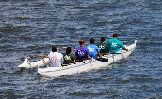 US-PBARC employees compete in the 2014 Kamehameha Canoe Club Business Regatta in Hilo Bay