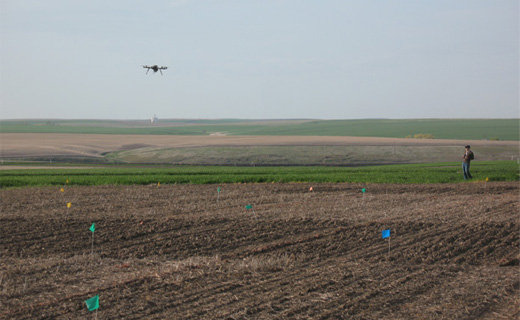 John Sulik flies a Cinestar 8 octocopter over plots of a field experiment with spring canola at the Pendleton Experiment Station. Photo links to story by Anna King, Northwest News Network.