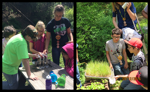Tami Johlke teaches 6th graders about soil infiltration and erosion at outdoor school.