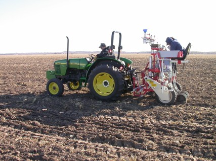 Planting of hard winter wheat research plots in October