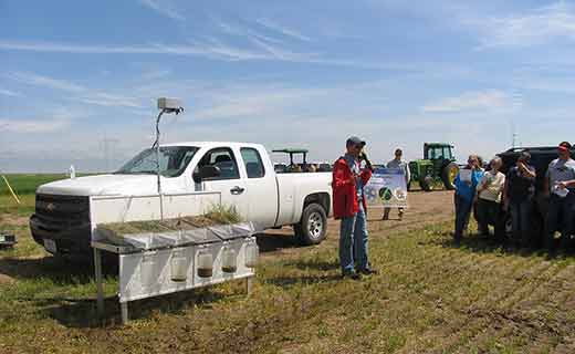 A rainfall simulator demonstration by NRCS at the 2015 Sidney ARS Field Day. This year's dryland field days include: The Froid Research Farm Field Day, Thursday, June 23, 1-5 pm and the joint Sidney ARS and MSU-EARC Field Day, Friday, June 24, from 9 am to 12:30 pm. Click here for more details.