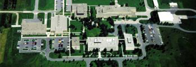 Aerial view of main building complex.