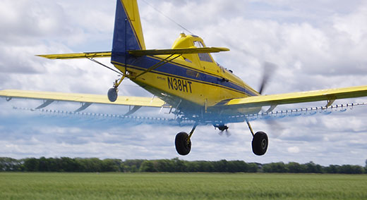 Modern agricultural aircraft can carry 400-800 gallons of spray and fly between 120-160 mph.