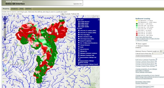 Screen shot of results from a WEPP model application to a watershed in Minnesota. Red areas indicate high sediment loss (>5 t/ha/yr), while green areas have lower predicted erosion (0-5 t/ha/yr).