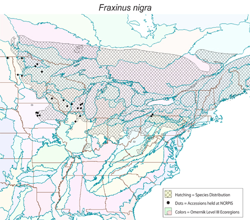 Fraxinus nigra - distribution, collected sites, Omernik Level III ecoregions.