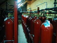 Fire suppression air tanks.
