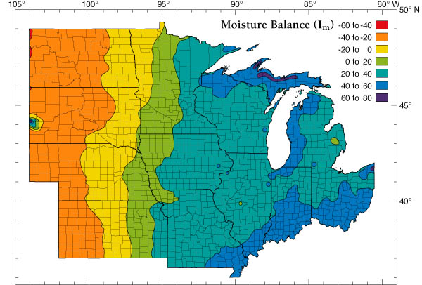 North East US Moisture Balance map