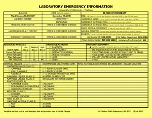 Emergency Laboratory Information - UW