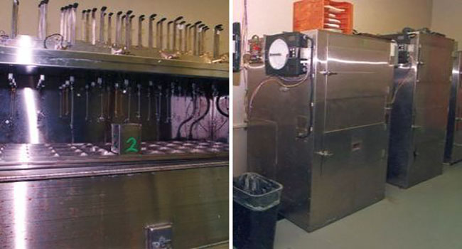images of steep tank (left) and germinator (right) used to change barley into malt
