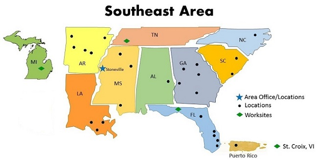 South East States Map, Map Of Southeast Area, South East States Map