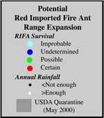 Potential United States Range Expansion Of The Invasive Fire Ant - Map of where fire ants are found in the us