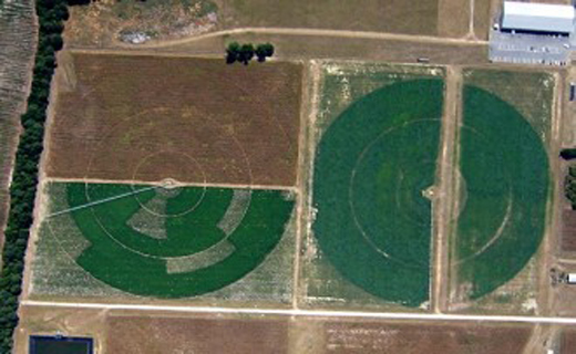 Aerial view of center pivot irrigation