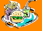 Graphic of hambuger, fries and drink on a tray