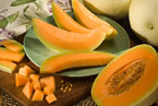 Orange-fleshed honeydew melons, photo by Peggy Greb