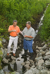 Examining water quality in a drainage  ditch, Photo by Peggy Greb, ARS Image D631-2