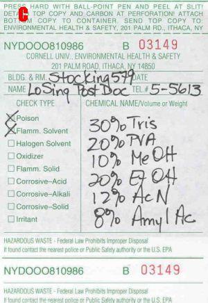 Bad Hazardous Waste Label