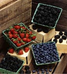 Photo: Strawberries, blackberries, and blueberries in pint boxes