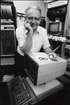 Photo: Researcher with near-infrared spectrophotometer, one of the first computerized lab instruments, 1980s
