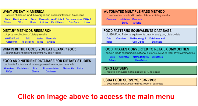 Image of the Food Surveys Research Group web page main menu