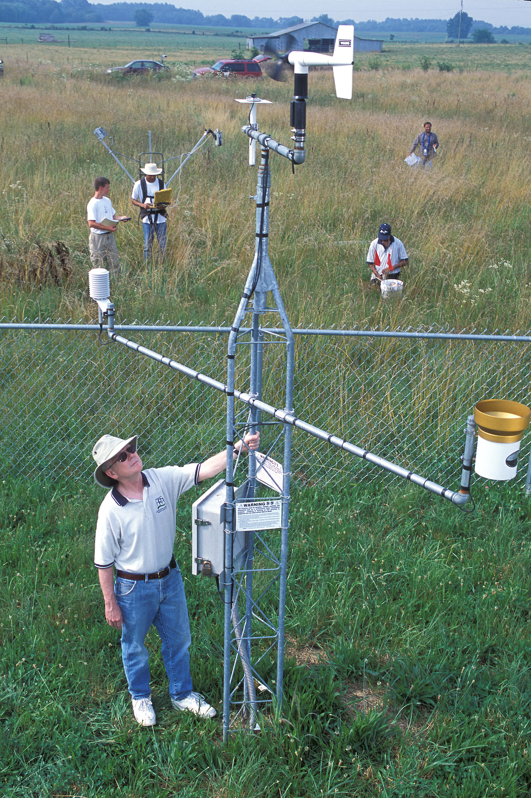 In situ soil moisture data collection, Photo by Agricultural Research magazine