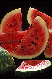 Six slices of watermelon.