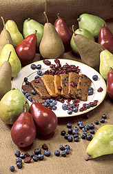 Fresh pears surround a plate of ARS-developed fruit bars: Link to photo information