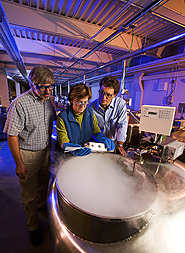 Dave Ellis and Luciano Nass watch as Christina Walters prepares to remove pepper seeds from vat of liquid nitrogen. Link to photo information