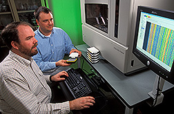 Curt Van Tassell and Tad Sonstegard load a high-capacity DNA sequencer. Link to photo information