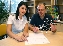 Photo: ARS plant physiologist Eric Schmelz (right) and postdoctoral chemist Fatma Kaplan examine a molecular model of a compound that corn uses to combat fungal attacks. Link to photo information