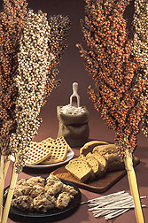 Photo: Sorghum stalks and some products produced from sorghum grain. Link to photo information
