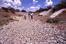 Dried-up irrigation ditch due to drought. Link to photo information