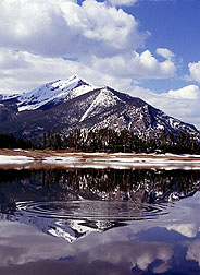 Snowmelt runoff fills a reservoir in the Rockies