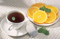 Tea, oranges, and mint have high amounts of flavonoids.