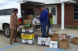 Fresh produce being unloaded from Franklin parish 'rolling store.' Link to photo information