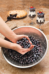 Photo: Hands scooping blueberries out of a bowl with blueberry pie and sundaes in the background. Link to photo information