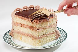 Photo: Fork going into a slice of layer cake. Link to photo information