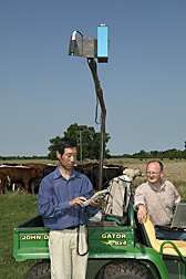 Zhao Duli and Patrick J. Starks use a hyperspectral spectroradiometer to measure light reflectance from forage. Link to photo information