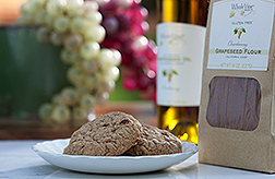 Photo: A package of grapeseed flour and cookies made from the flour. Link to photo information