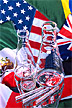 Glasses beakers and international flags