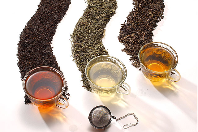 Black, green, and oolong tea and tea leaves