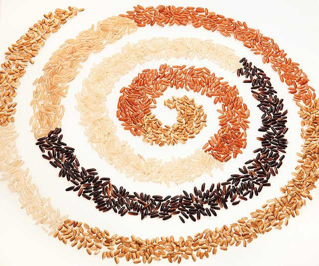 Swirls of colored rice bran: white, light brown, brown, red, and purple/black