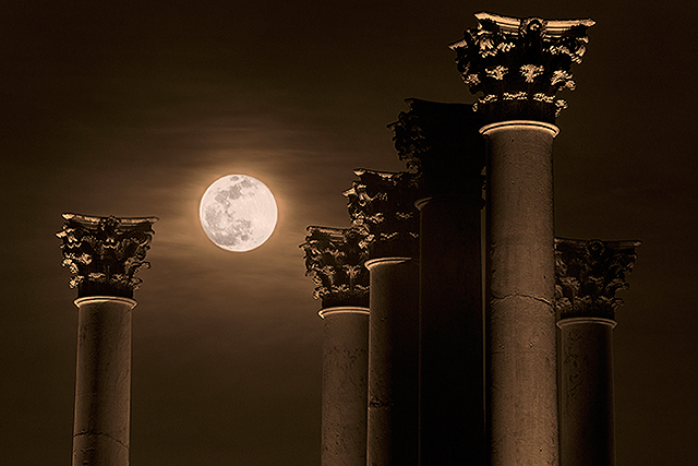 National Capital Columns with a full moon