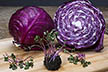 Red cabbage microgreens and mature red cabbage.