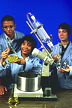 High school students use a rotary evaporator.