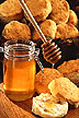 Jar of honey and biscuits